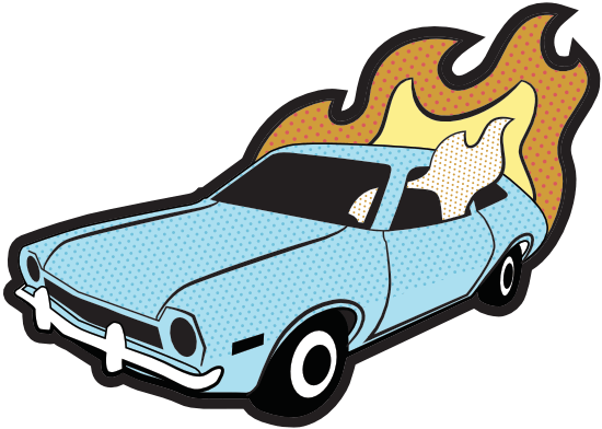 Flaming Ford Pinto