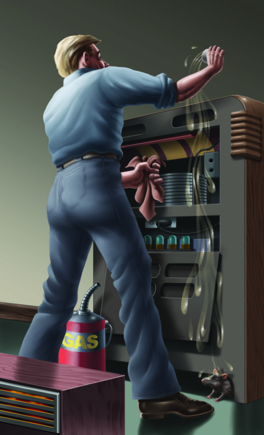 illustration of man cleaning vending machine