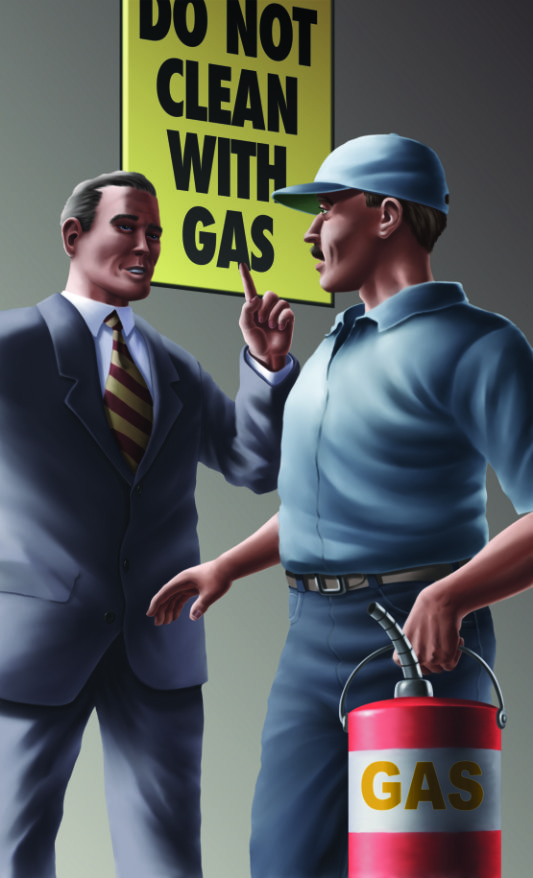 don't clean with gas
