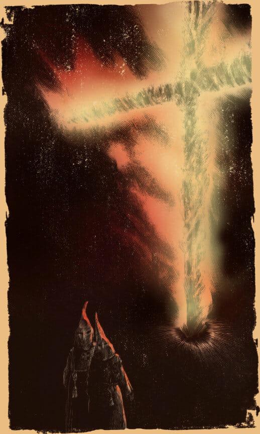 illustration of 2 klansmen and burning cross